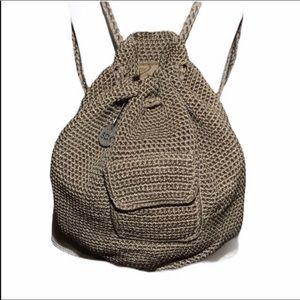 The SAK Bucket Crocheted Tan Drawstring Backpack